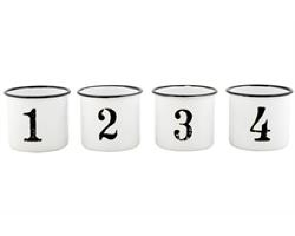 Ib Laursen Emaljebæger hvide med sort kant 1-4-31