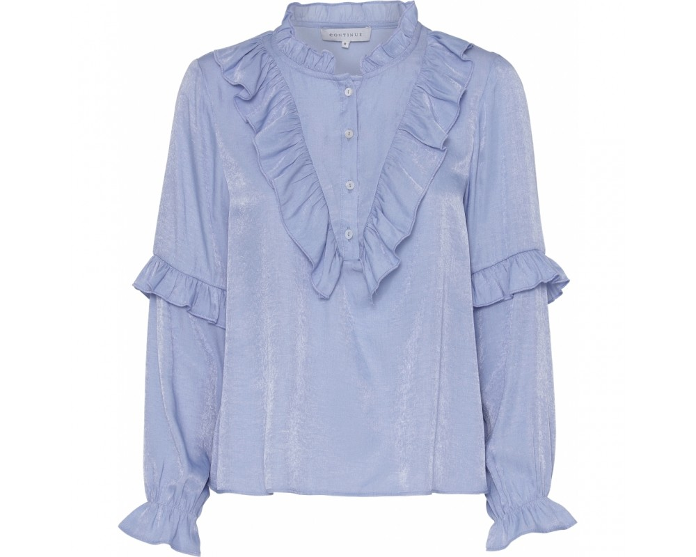 bluse med flæser lyseblå continue