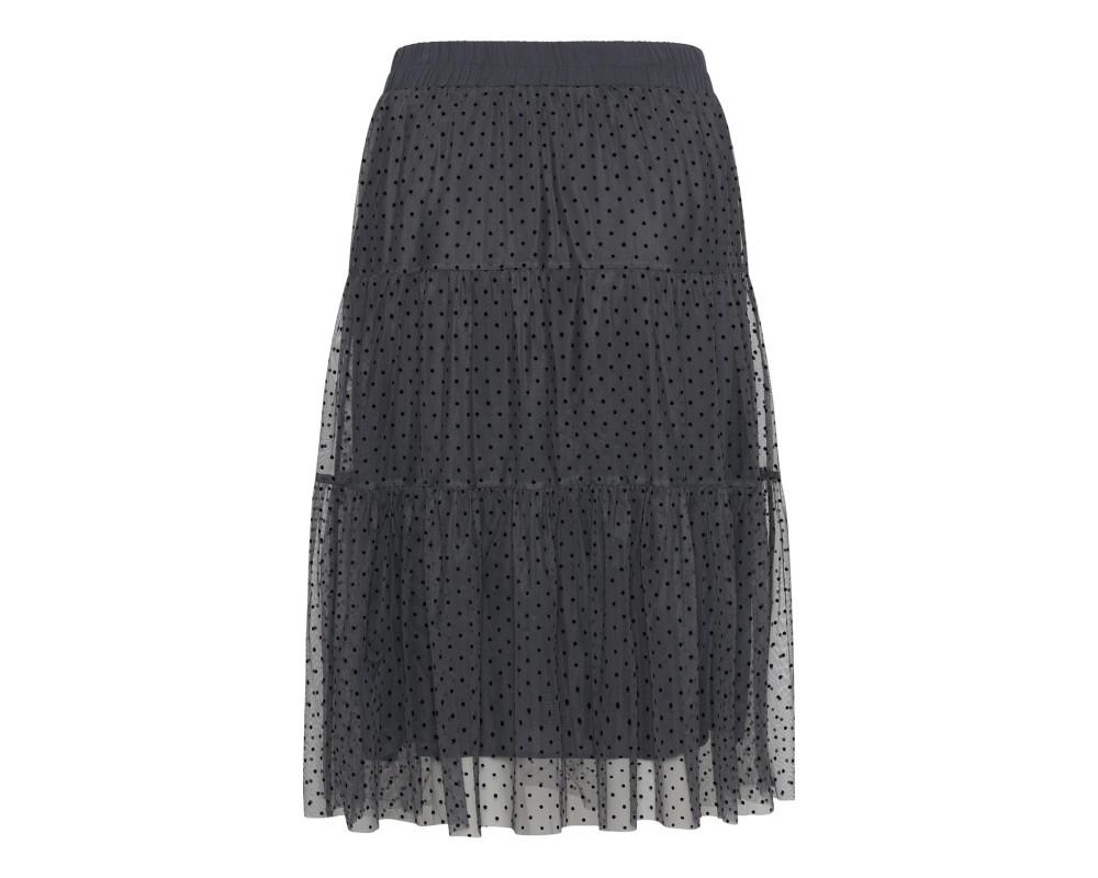 grå nederdel m. prikker continue