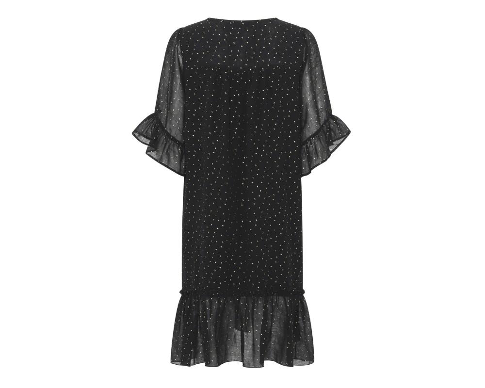kort sort kjole m guld continue