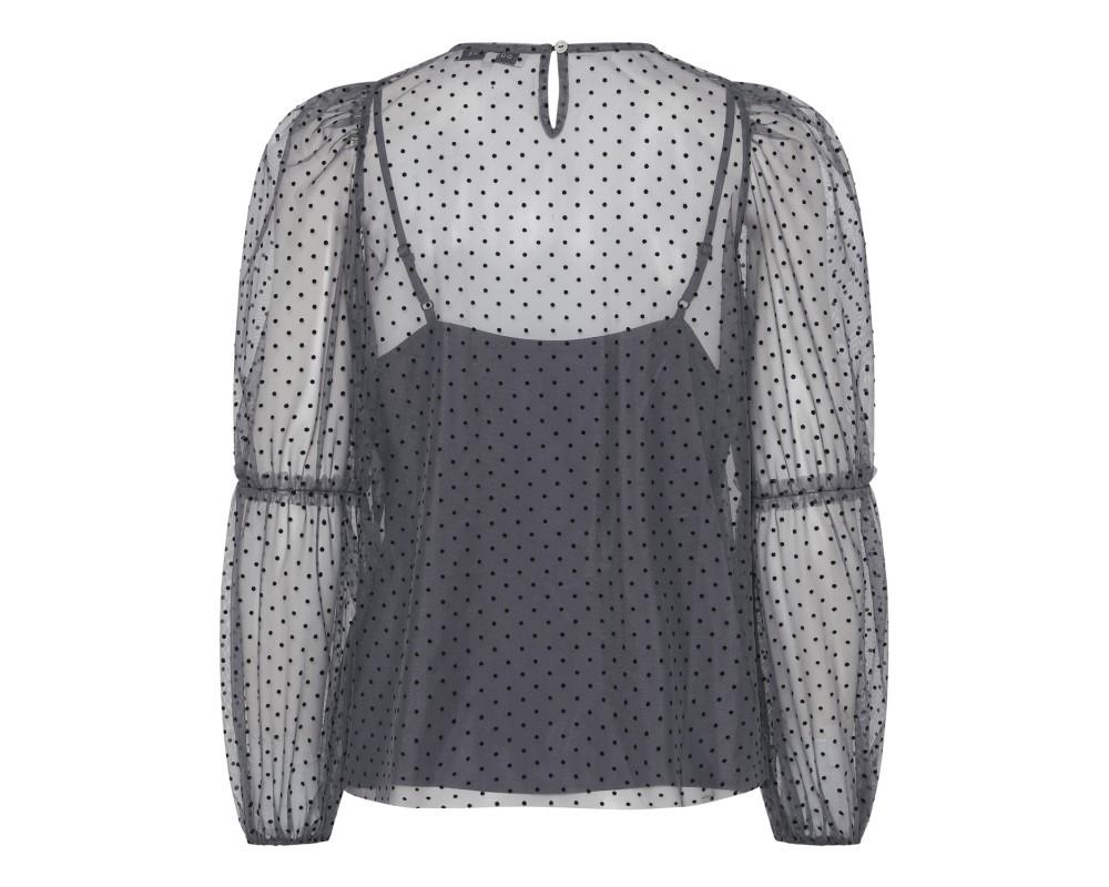 grå bluse m. prikker continue