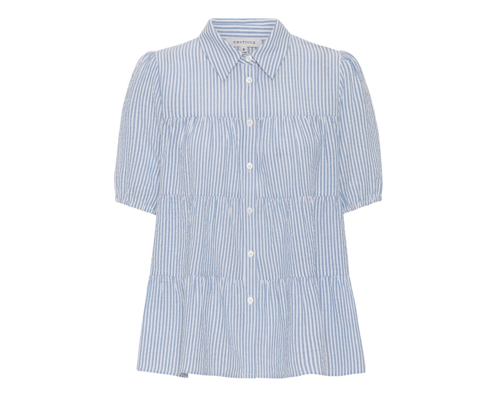 kortærmet bluse blå hvid continue