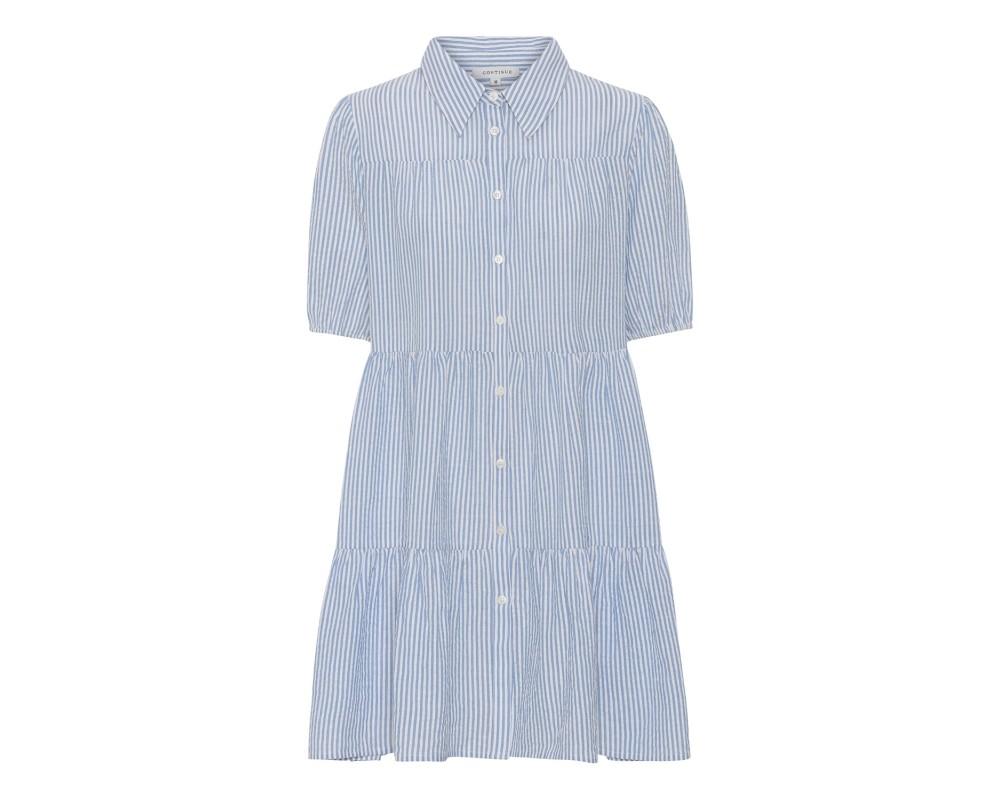 Kort kjole i blå og hvide striber continue