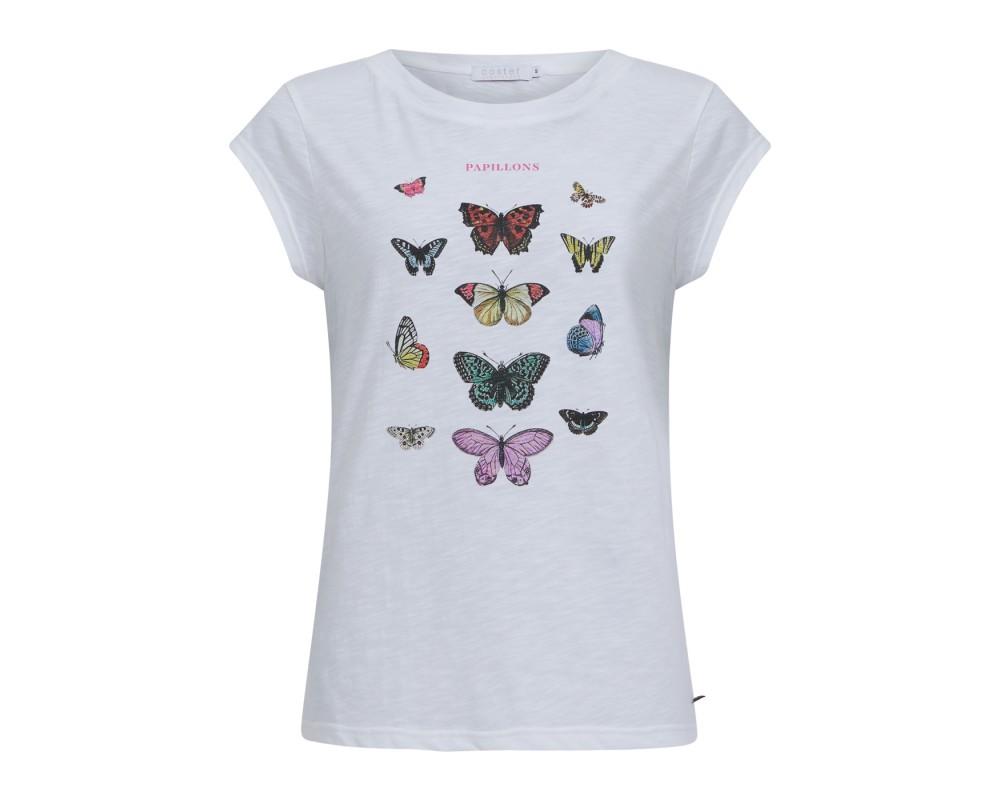 dame t-shirt hvid m. sommerfulgeprint coster copenhagen