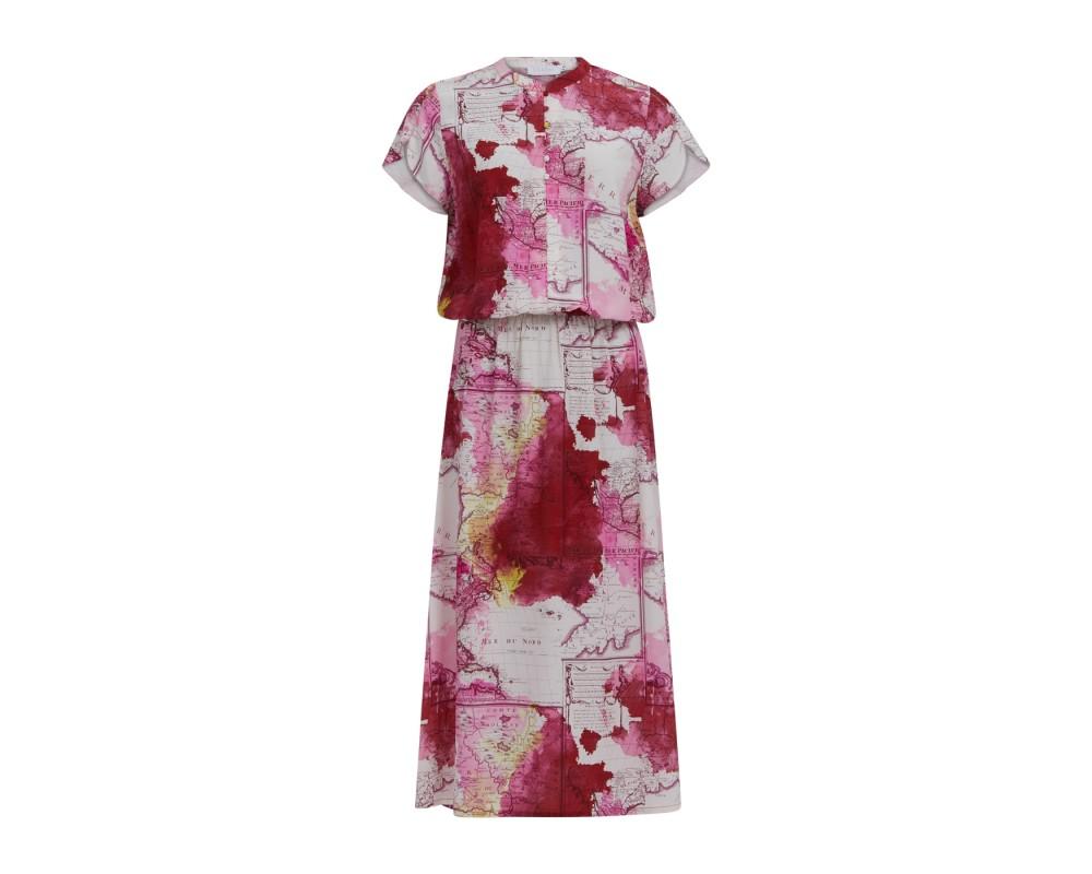 lang kjole i pink print coster copenhagen