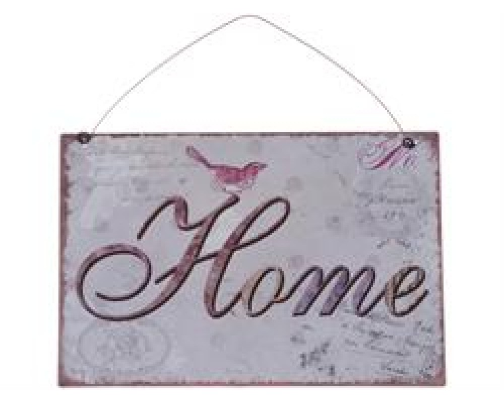 "Chic Antique Metal Skilt "" Home "" 21x15-31"