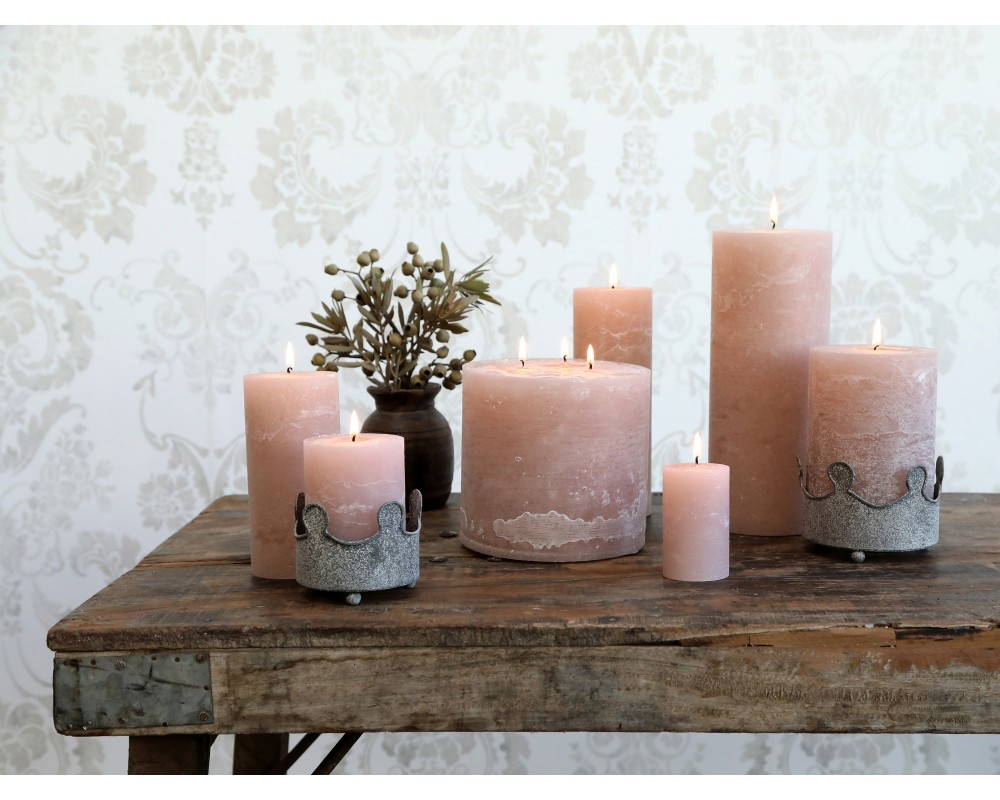 rustikt bloklys rosa chic antique