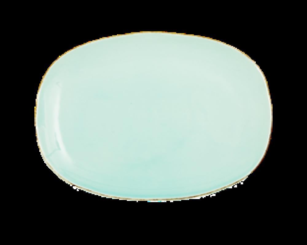 Rice Oval Middagstallerken Mint Keramik.-31