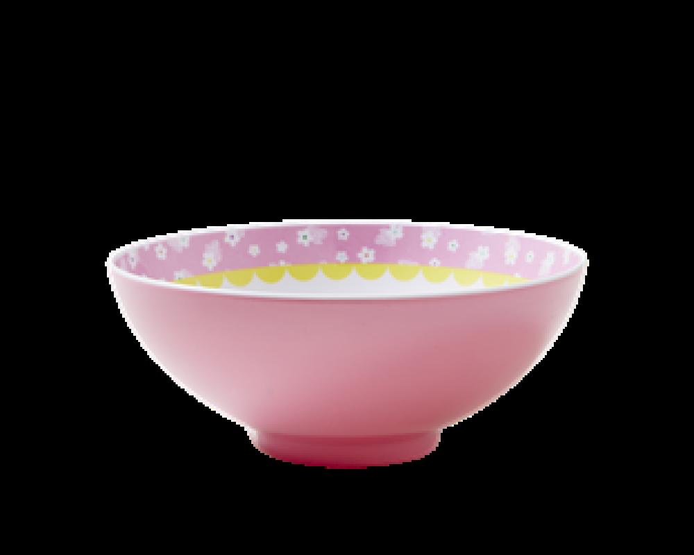 Rice melamin skål lyserød m/ fugleprint-31