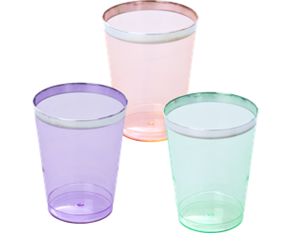 Rice 6 Plastik Glas M/ Sølv Kant.-31