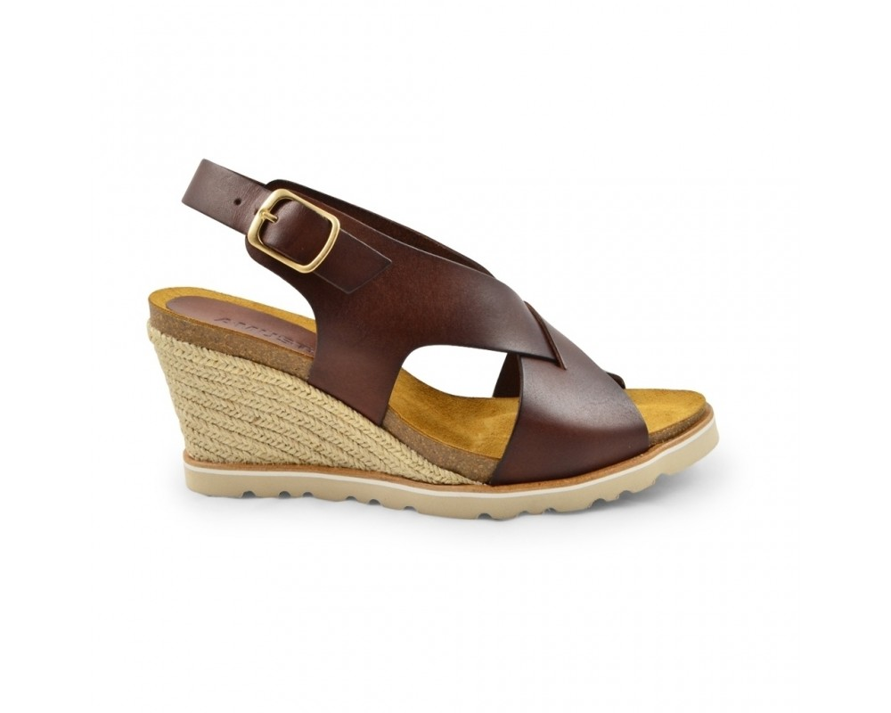 wedge sandal cognac amust