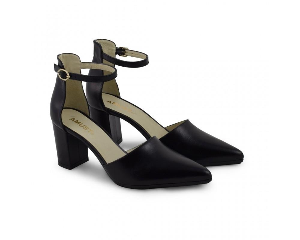Amust høj sort sko i skind