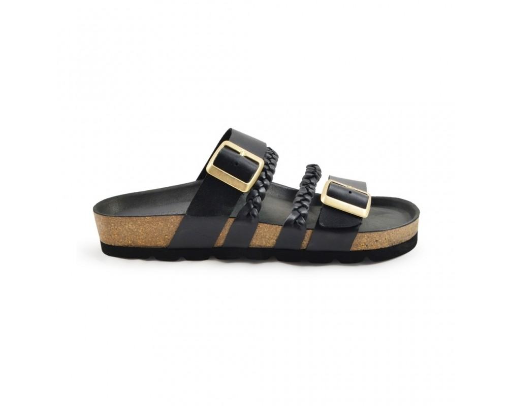 amust flad sandal sort skind