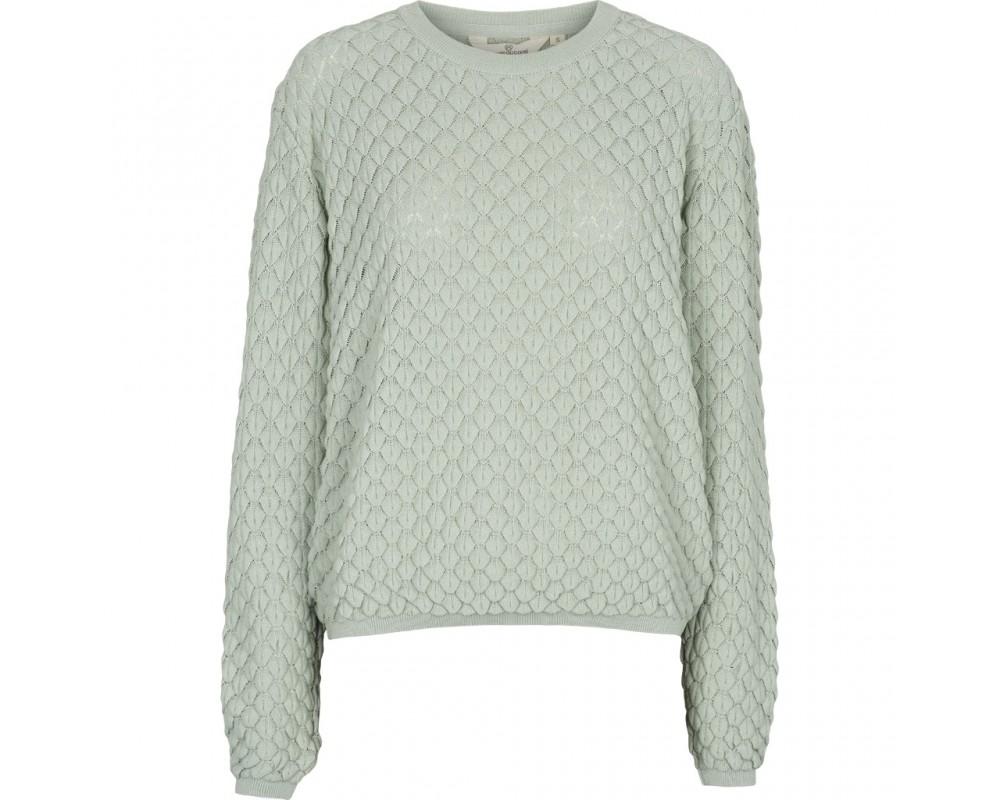 strik sweater lys grøn basic apparel