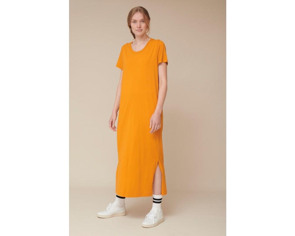 t-shirt kjole rebekka gul basic apparel