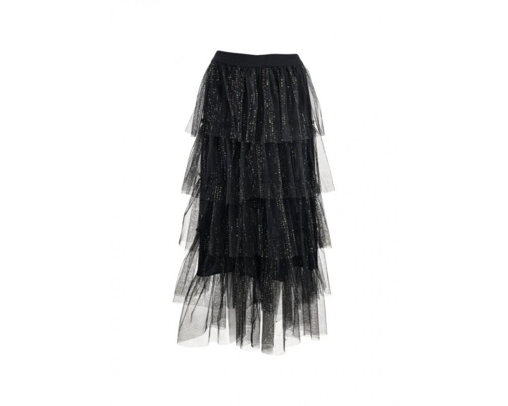 Black Colour AIDA Tyl nederdel Sort med Guld dots