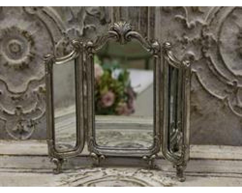 Chic Antique Fransk 3-fløjet spejl antique sølv-31