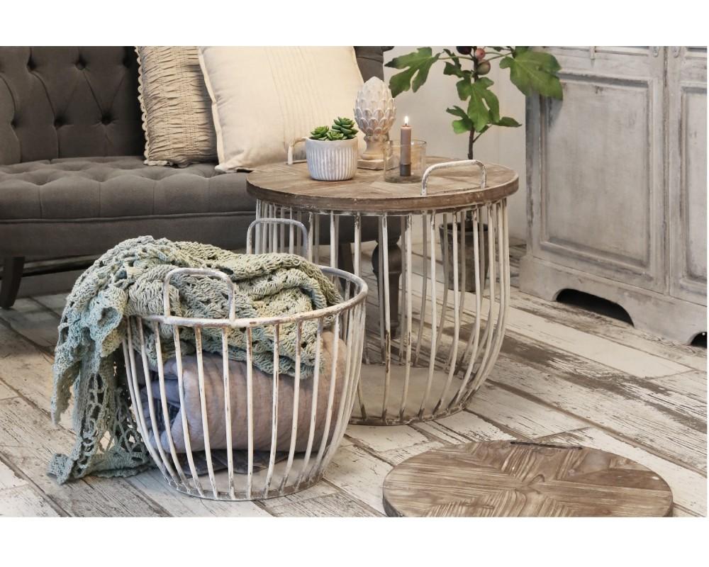 Sort Chic Antique sofabord med træplade 41324-24