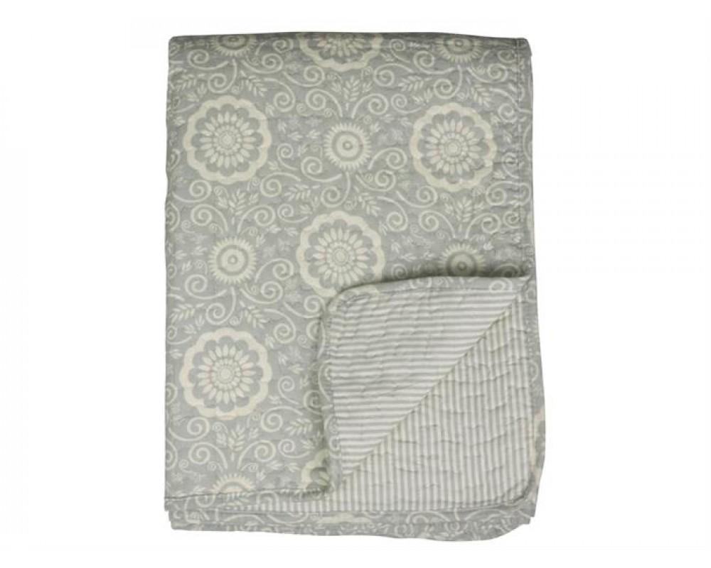 Chic Antique Quiltet tæppe støvet grøn 130x180-31