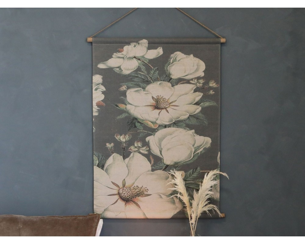 vægophæng lærred m. blomster chic antique