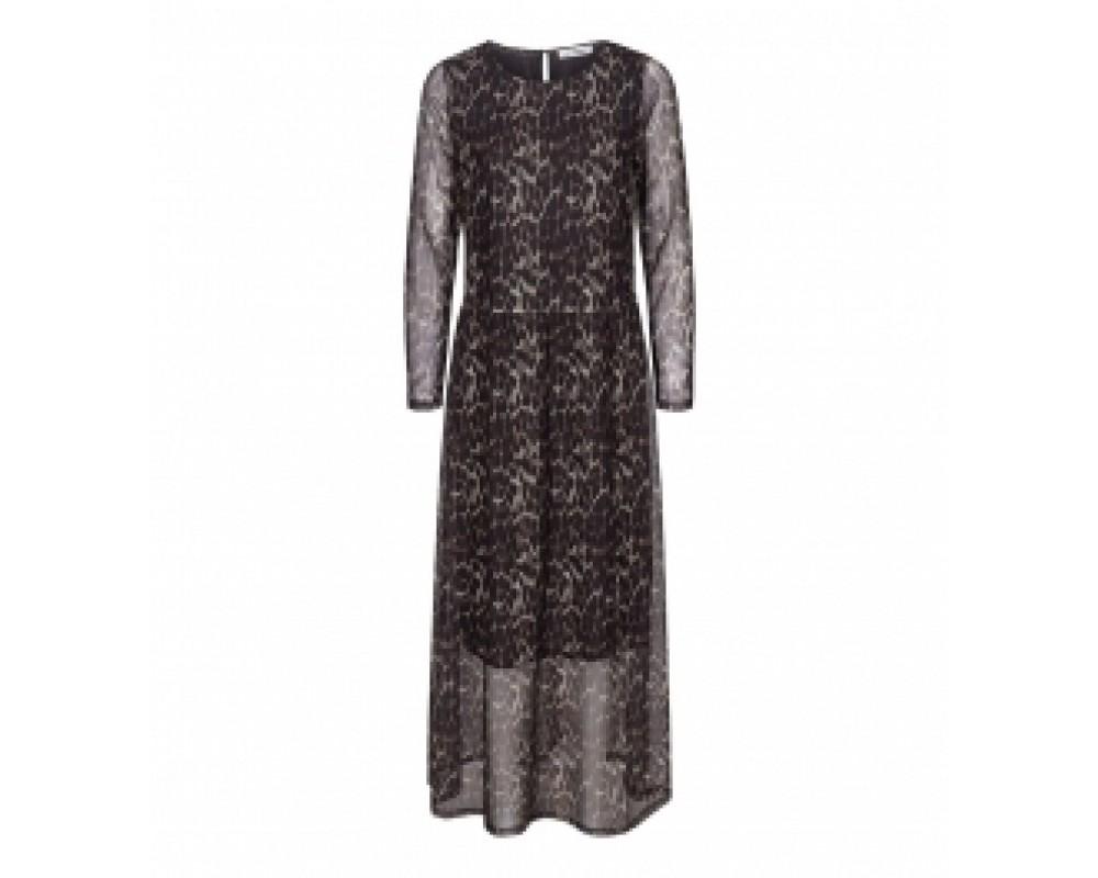 co' couture animal mesh kjole cognac