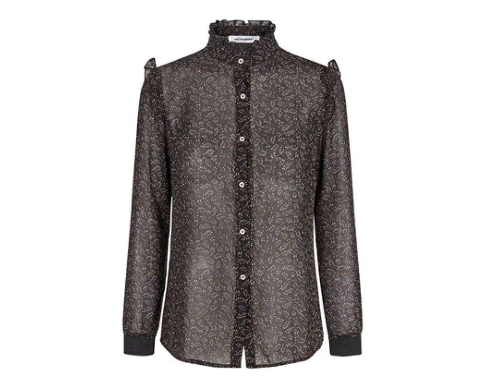 co' couture Scribble Flower Frill Shirt