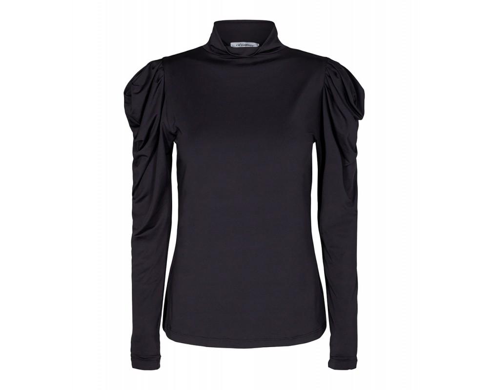 langærmet sort bluse med krave co couture