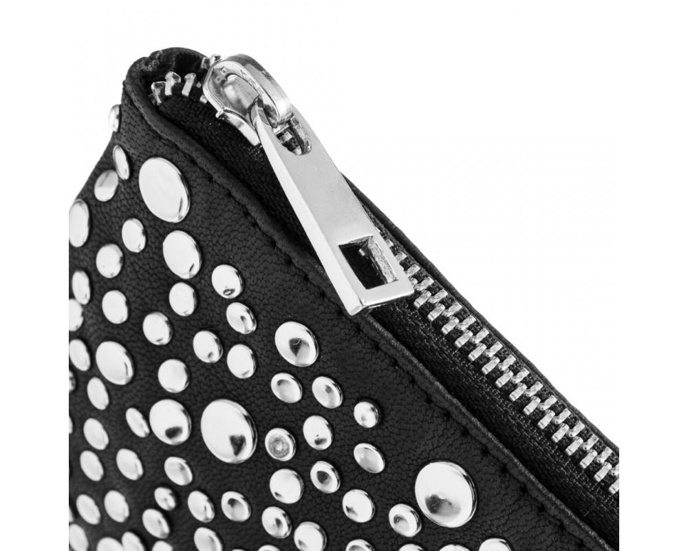 lille pung i skind sort med sølvnitter depeche