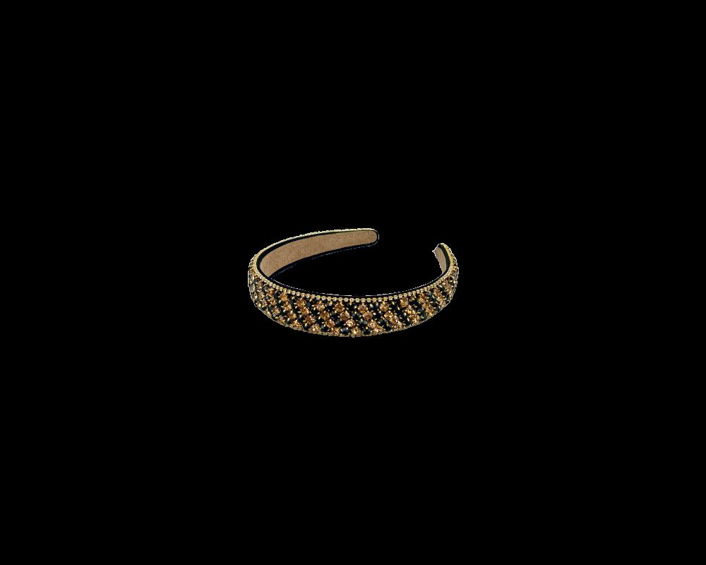 hårbøjle med perler sort guld