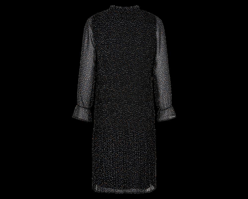 sort plisseret kjole in front