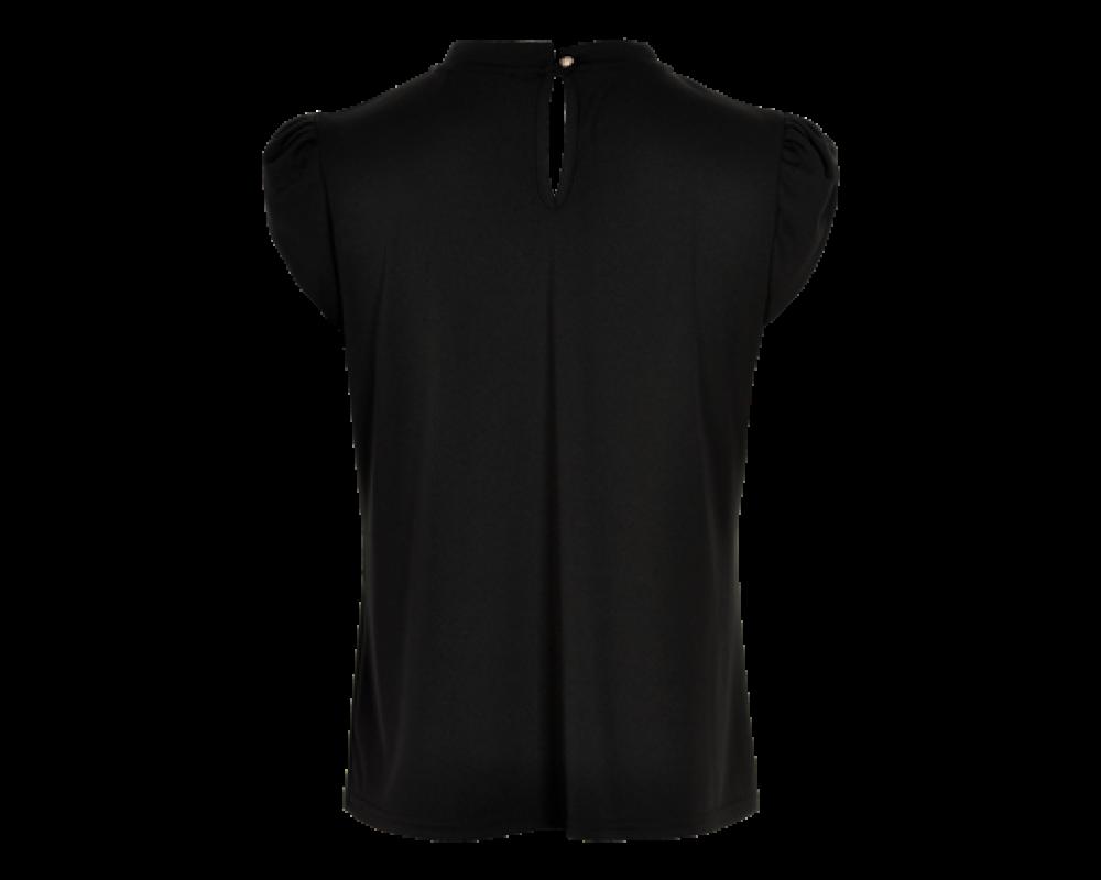 kortærmet sort bluse in front
