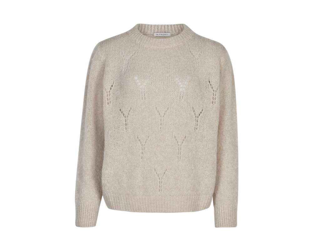 strik sweater off white in front