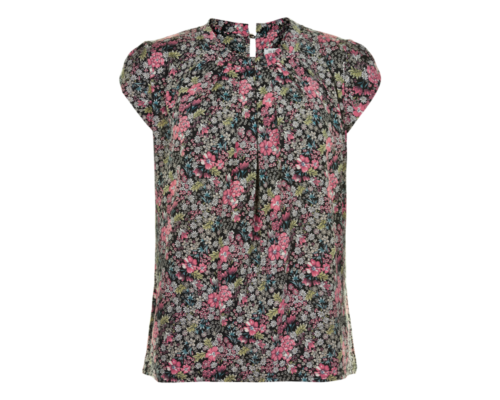 kortærmet damebluse sort m blomsterprint in front