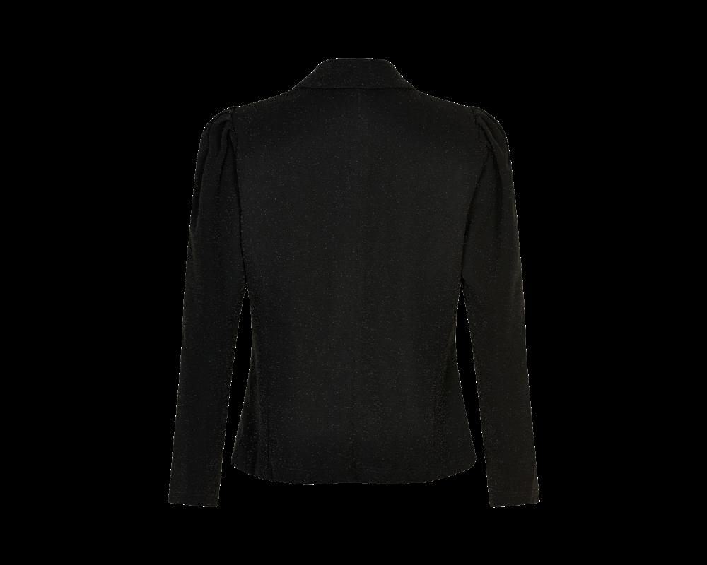sort jakke med glimmereffekt in front