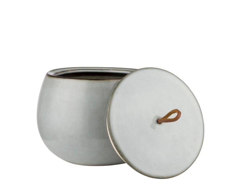 Amera grey krukke med læderstrop fra Lene Bjerrre