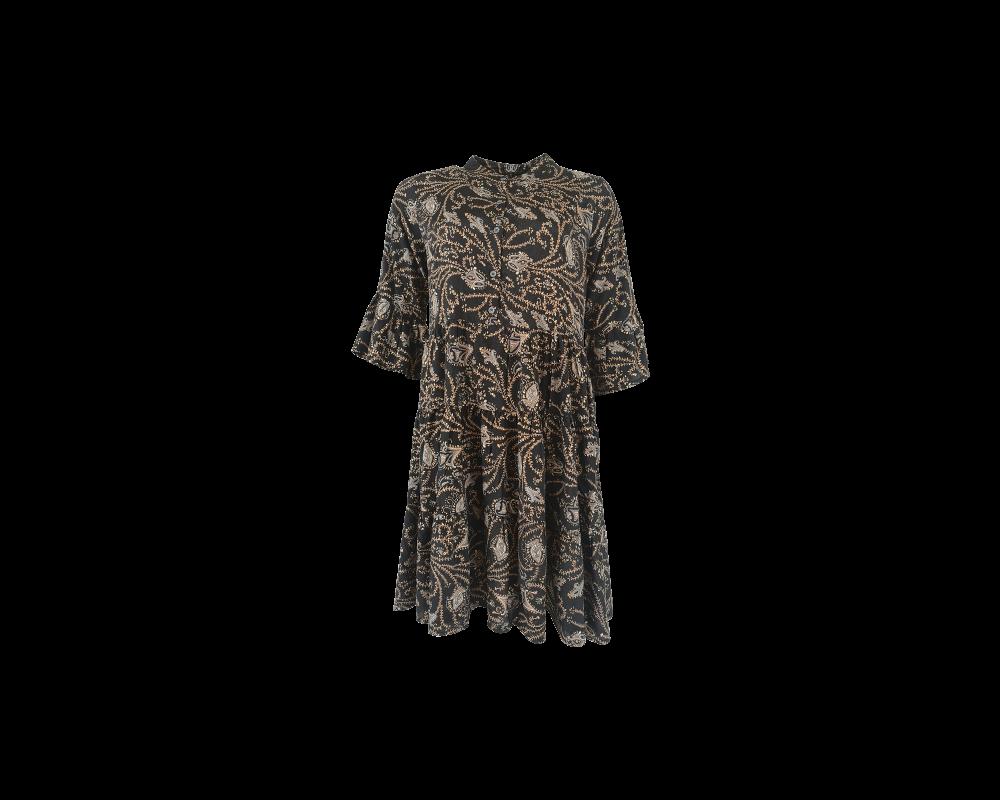 kort kjole sort med print black colour