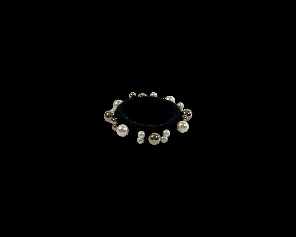 Black colour hårelastik med perler