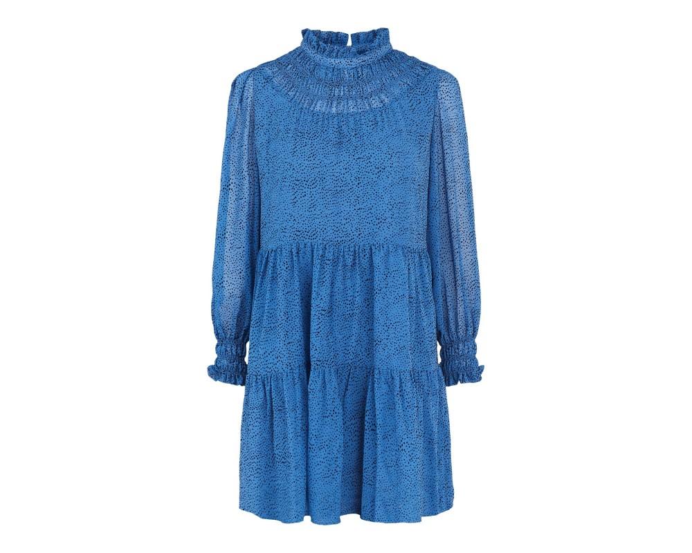 kort blå prikket kjole