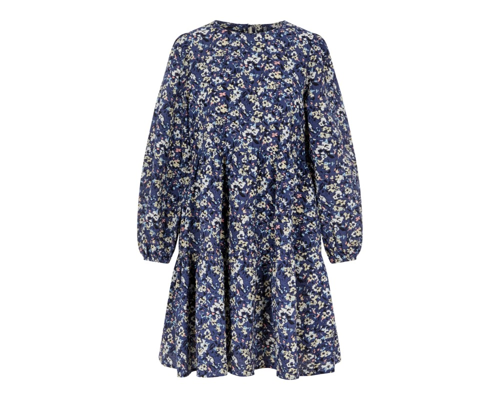 kort blomstret kjole blå pieces