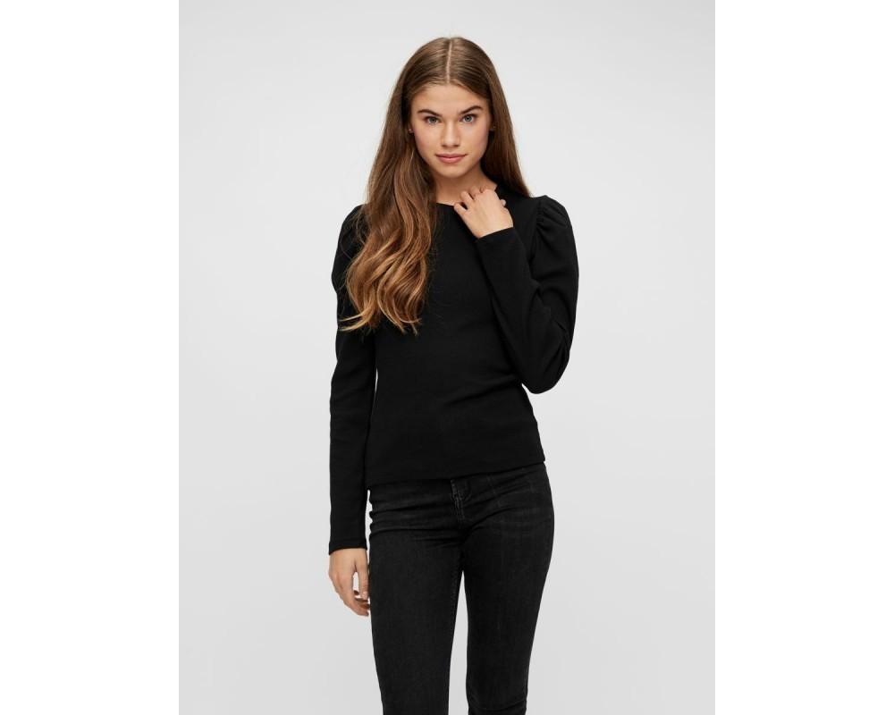 langærmet sort bluse pieces