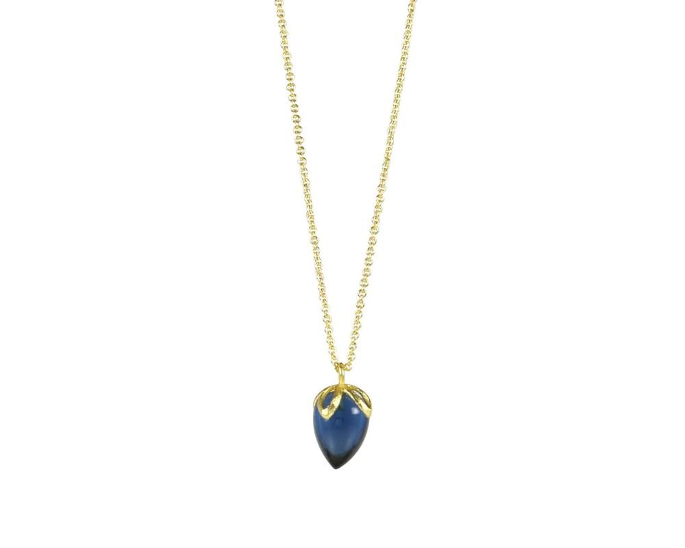 lang guld halskæde med blå sten pure by nat