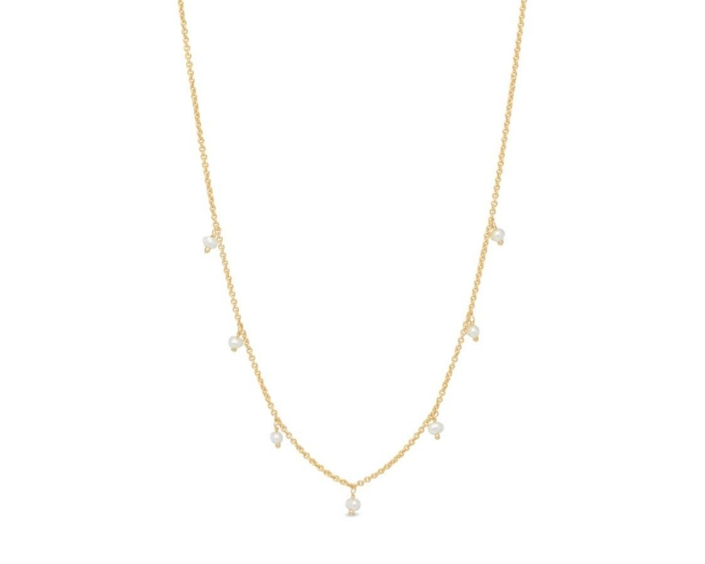 kort guldkæde med perler pure by nat