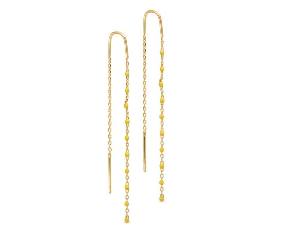 kæde ørering med gule perler pure by nat
