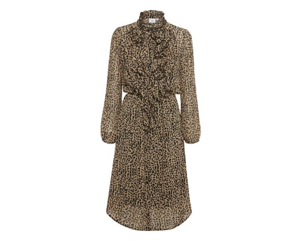 kjole i leopard med flæser saint tropez