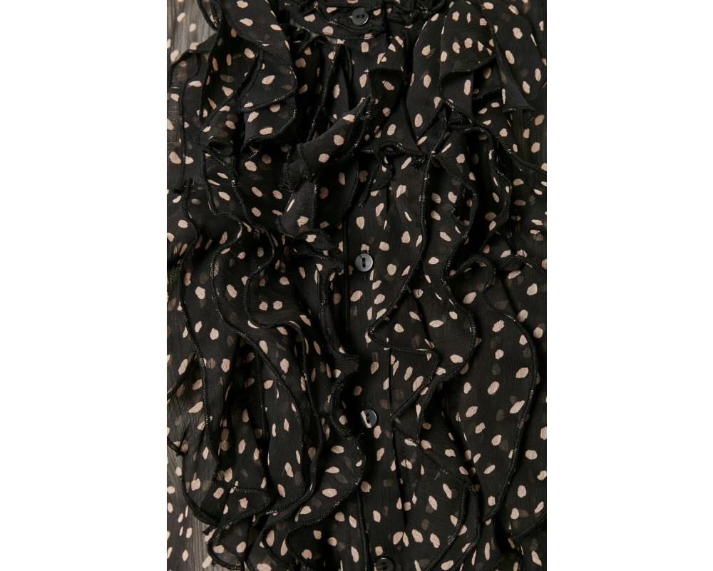 bluse med flæser sort saint tropez