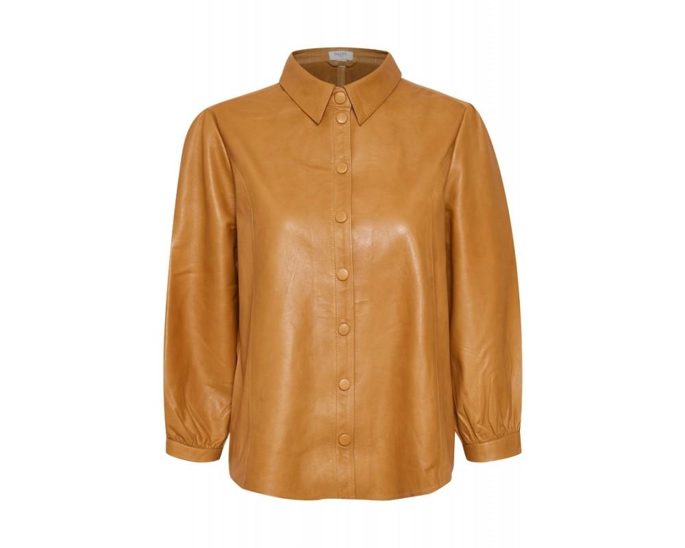 skjorte jakke læder cognac saint tropez