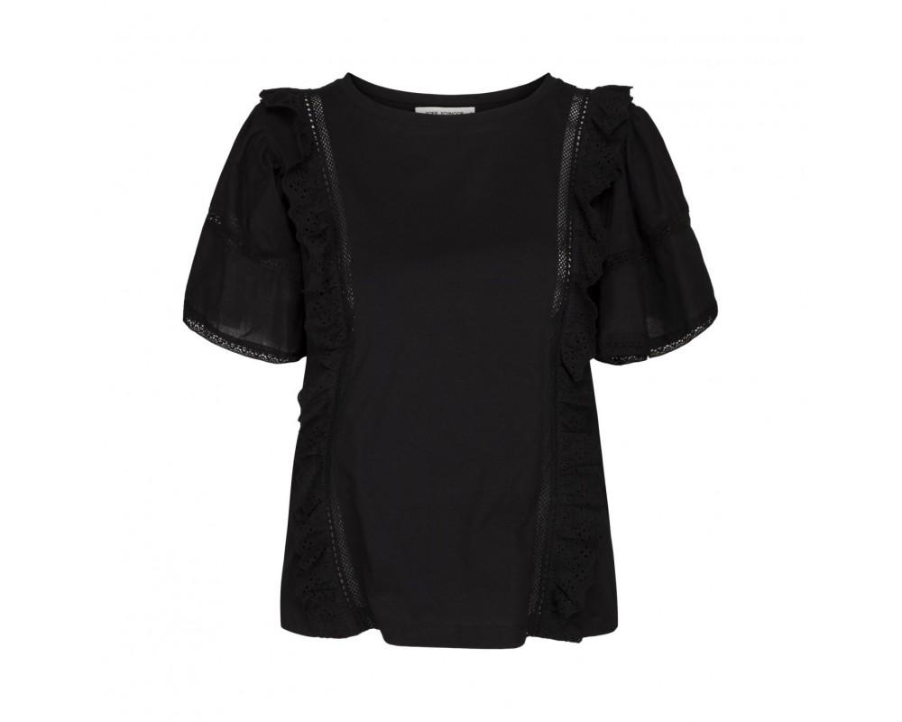 t-shirt med flæsedetaljer sort sofie scnoor
