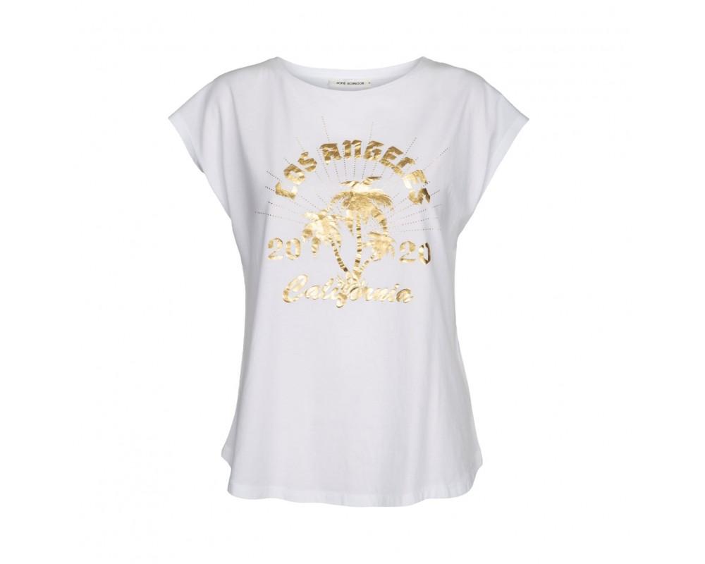 t-shirt med guld print hvid sofie schnoor