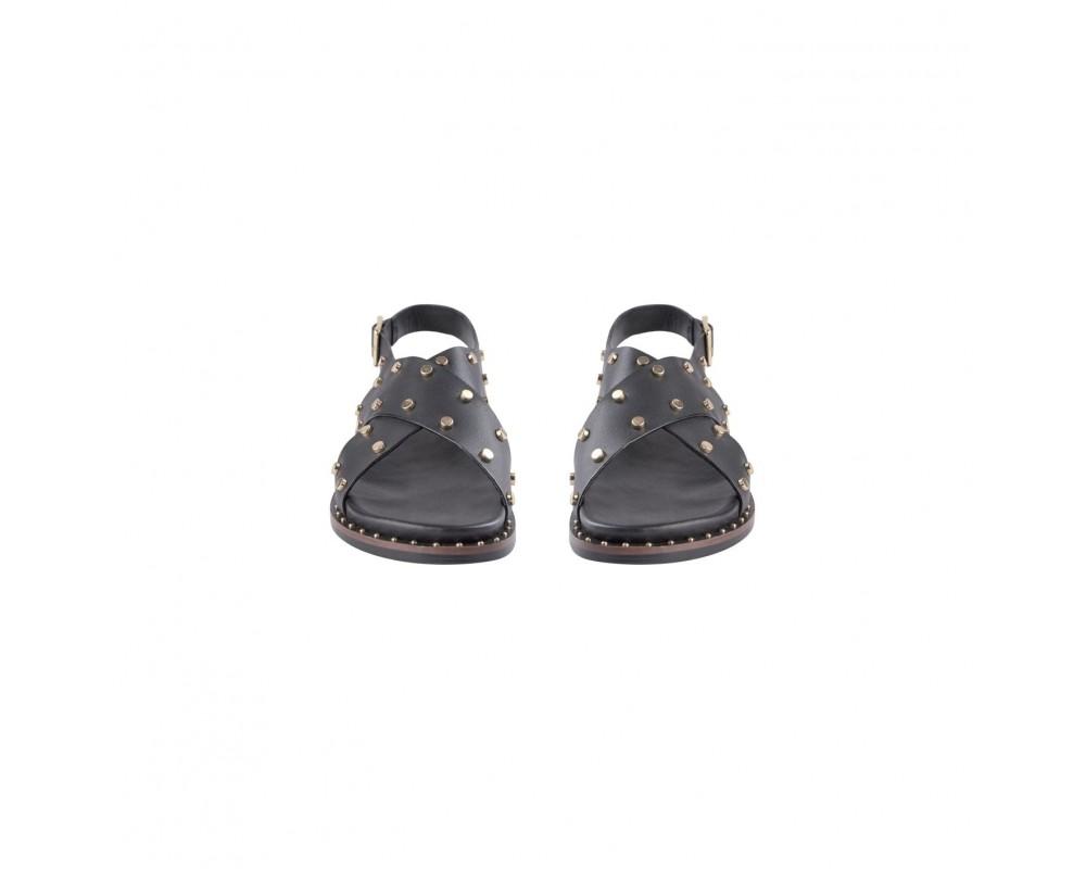 flad sort sandal med guldnitter sofie schnoor