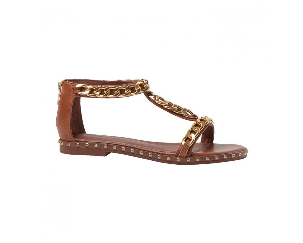 sandal m. guldkæde cognac sofie schnoor